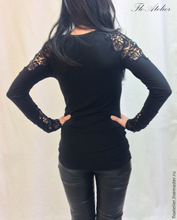 Блузка Кружевная Черная Купить