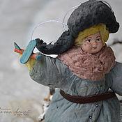 Подарки к праздникам ручной работы. Ярмарка Мастеров - ручная работа Ватная елочная игрушка МИШКА С САМОЛЕТИКОМ. Handmade.