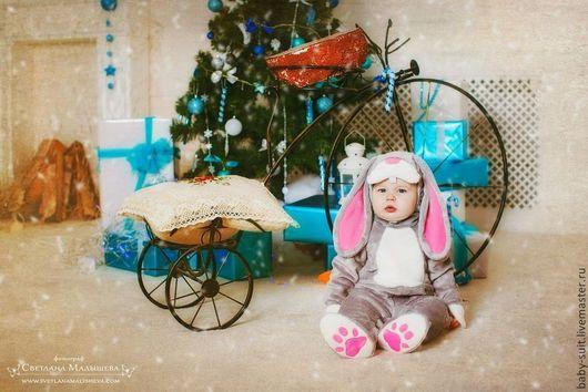Карнавальный новогодний костюм Серого зайчика для малышей и детей