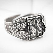 Украшения ручной работы. Ярмарка Мастеров - ручная работа Перстень из серебра с руной Наутиз, славянский символ. Handmade.