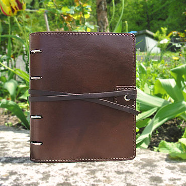 Stationery handmade. Livemaster - original item Personalized leather notebook A4 on the rings. Handmade.