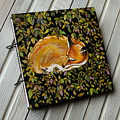 "Канцелярские товары handmade. Livemaster - original item Sketchbook wood cover 22x22sm ""Sleeping fox"". Handmade."