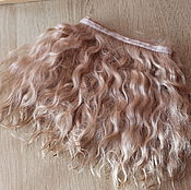Материалы для творчества handmade. Livemaster - original item Mohair tress (creamy blonde) (Hair for dolls). Handmade.