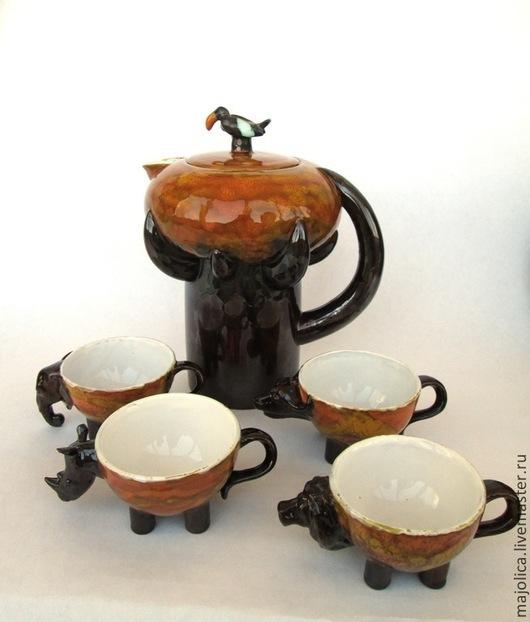 """Сервизы, чайные пары ручной работы. Ярмарка Мастеров - ручная работа. Купить Детский питьевой набор """"Саванна"""". Handmade. Керамика"""