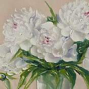 """Картины и панно ручной работы. Ярмарка Мастеров - ручная работа РКартина маслом """"Белые пионы"""",40х60 (цветы, белый, розовый,салатовый). Handmade."""