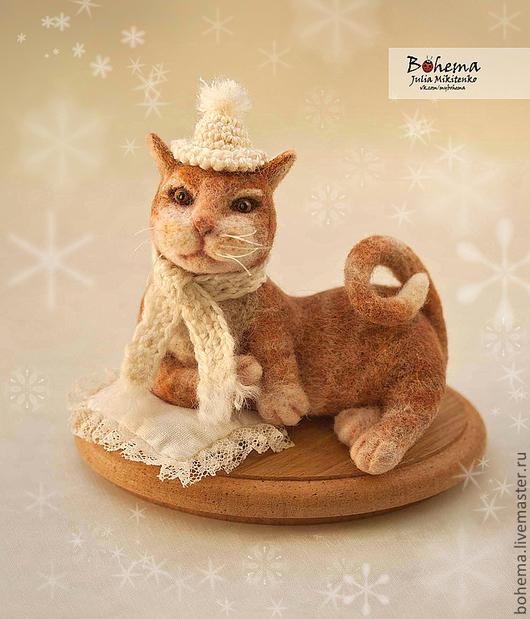 Игрушки животные, ручной работы. Ярмарка Мастеров - ручная работа. Купить Кузя нежный-снежный. Handmade. Кот, войлочный кот