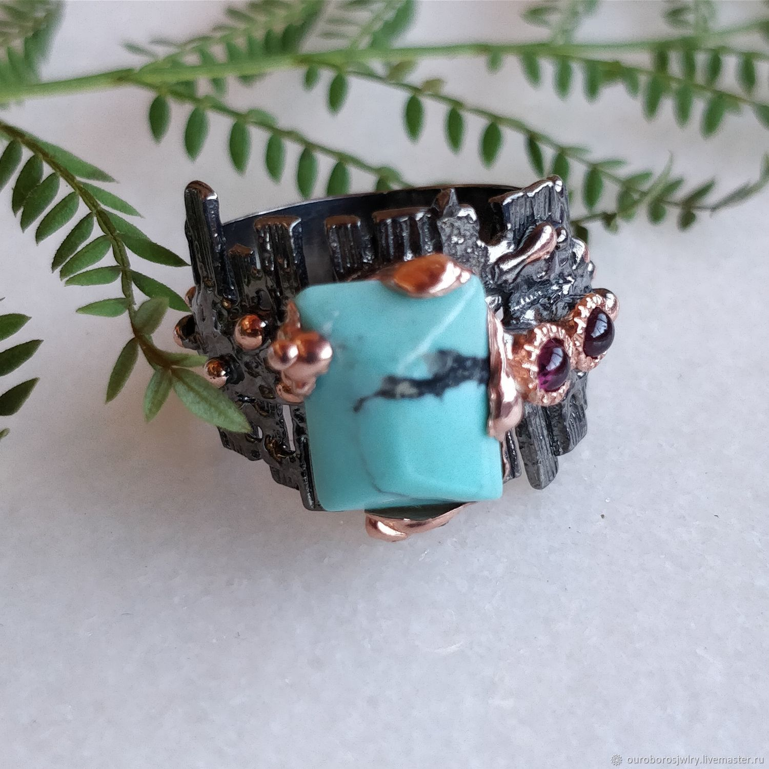 Silver ring with turquoise and amethyst, Rings, Novosibirsk,  Фото №1