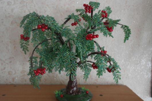 """Деревья ручной работы. Ярмарка Мастеров - ручная работа. Купить Дерево из бисера """"Рябина"""". Handmade. Комбинированный, деревья из бисера, проволока"""