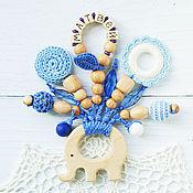 Одежда handmade. Livemaster - original item Personalized teething toy elephant blue with pendants. Handmade.