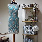 Одежда ручной работы. Ярмарка Мастеров - ручная работа Коктейльное платье-футляр Мalachite(Малахит) для изысканной Леди,круж. Handmade.