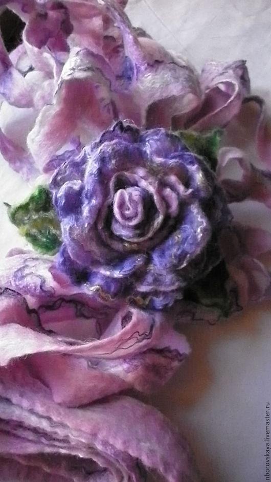 Шарфы и шарфики ручной работы. Ярмарка Мастеров - ручная работа. Купить Шарф-палантин валяный из шерсти Пепельная роза. Handmade.
