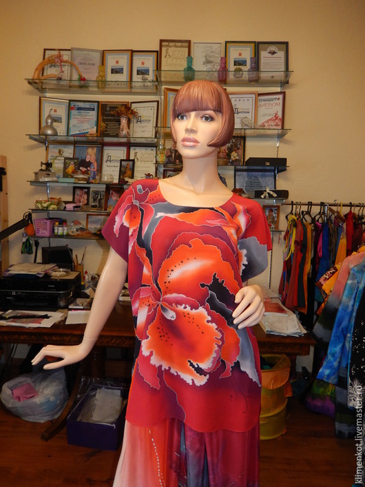Блузки ручной работы. Ярмарка Мастеров - ручная работа. Купить блуза Страстная. Handmade. Ярко-красный, блузка, нарядная блузка