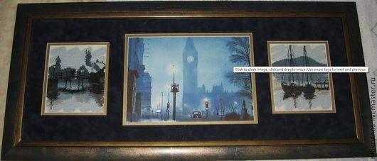 Город ручной работы. Ярмарка Мастеров - ручная работа. Купить Сумерки Лондона. Handmade. Синий, лондон, Сумерки, акварель, вышивка