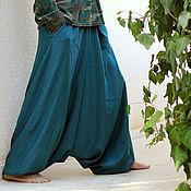 Одежда handmade. Livemaster - original item Men`s Harem Pants with 2 deep side pockets - Aquamarine. Handmade.