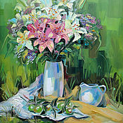 handmade. Livemaster - original item Oil painting Bouquet of pink lilies. Handmade.