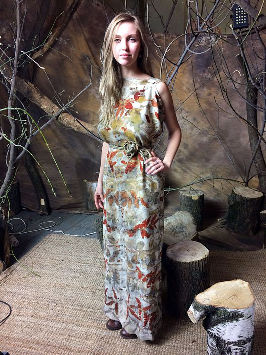 Этническая одежда ручной работы. Ярмарка Мастеров - ручная работа. Купить Платье-туника. Handmade. Платье, экопринт, кашемир 100%