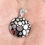 Винтаж handmade. Livemaster - original item Stylish pendant with Rubies, Turquoise, white Topaz, Onyx, enamel. Handmade.