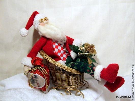 Новый год 2017 ручной работы. Ярмарка Мастеров - ручная работа. Купить Santa Claus из Лапландии. Handmade. Ярко-красный, канва
