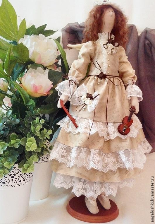 Куклы Тильды ручной работы. Ярмарка Мастеров - ручная работа. Купить Ангел музыки. Handmade. Бежевый, кукла Тильда, дерево