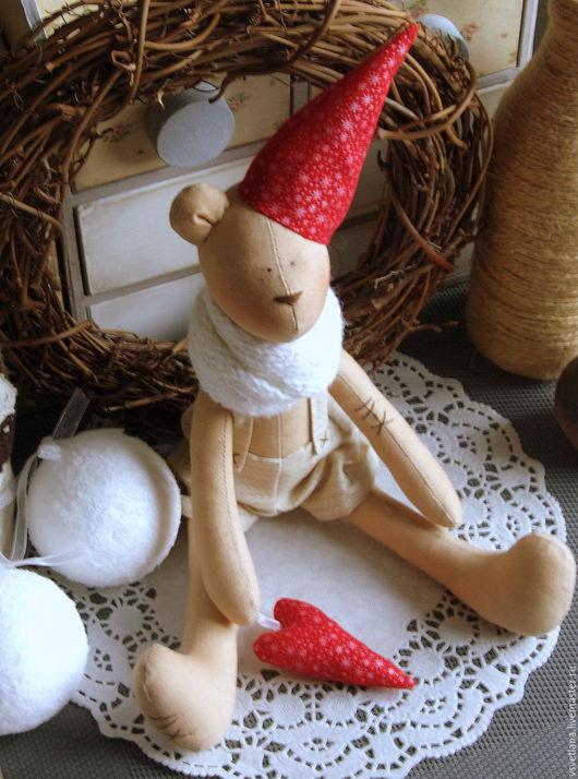 Куклы Тильды ручной работы. Ярмарка Мастеров - ручная работа. Купить Кофейный рождественский мишка. Handmade. Бежевый, мишка в одежде