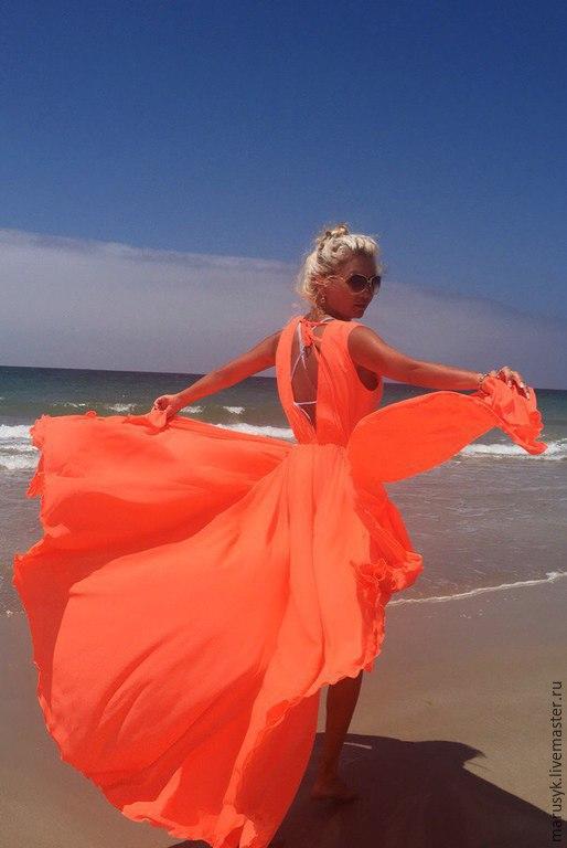 Пляжные платья ручной работы. Ярмарка Мастеров - ручная работа. Купить Платье-туника Коралл/солнце. Handmade. Коралловый, платье коктейльное