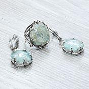 Украшения handmade. Livemaster - original item Aquamarine (earrings and ring) (1120). Handmade.