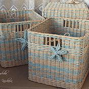 Для дома и интерьера handmade. Livemaster - original item Storage basket wicker beige-blue