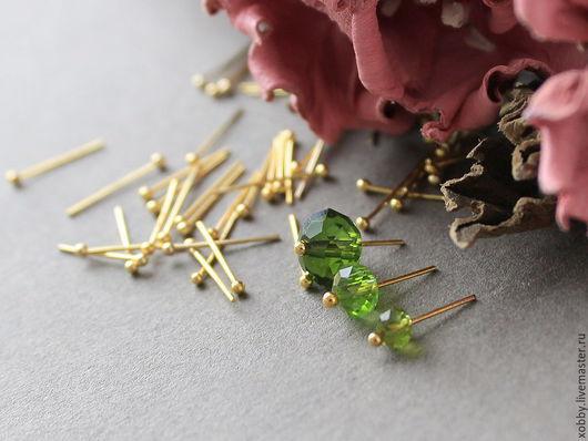 Пины с шариком 13 мм латунь позолоченные Пины с шариком на конце, длиной 13 мм из латуни с покрытием цвета под золото для создания украшений