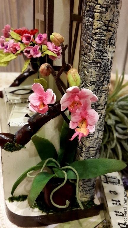 Вечный календарь ПОТСДАМ. Фахверк.    Орхидеи фаленопсис из фома. Анастасия   (Decor-art)