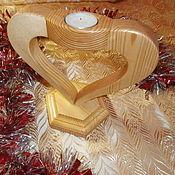 Для дома и интерьера ручной работы. Ярмарка Мастеров - ручная работа Деревянный подсвечник. Handmade.