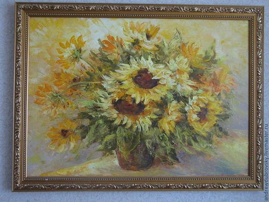 Картины цветов ручной работы. Ярмарка Мастеров - ручная работа. Купить Солнечные цветы. Handmade. Желтый, картина в подарок, масло
