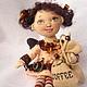Сказочные персонажи ручной работы. Ярмарка Мастеров - ручная работа. Купить текстильная авторская кукла КОФЕЮШКА. Handmade. Коричневый, рогожка