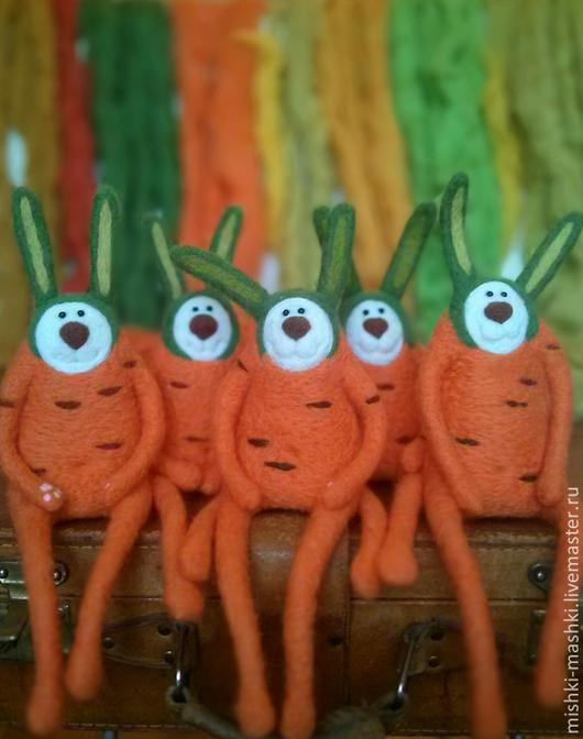 Игрушки животные, ручной работы. Ярмарка Мастеров - ручная работа. Купить Зайцы - морковки. Handmade. Рыжий, зайчик, заяц