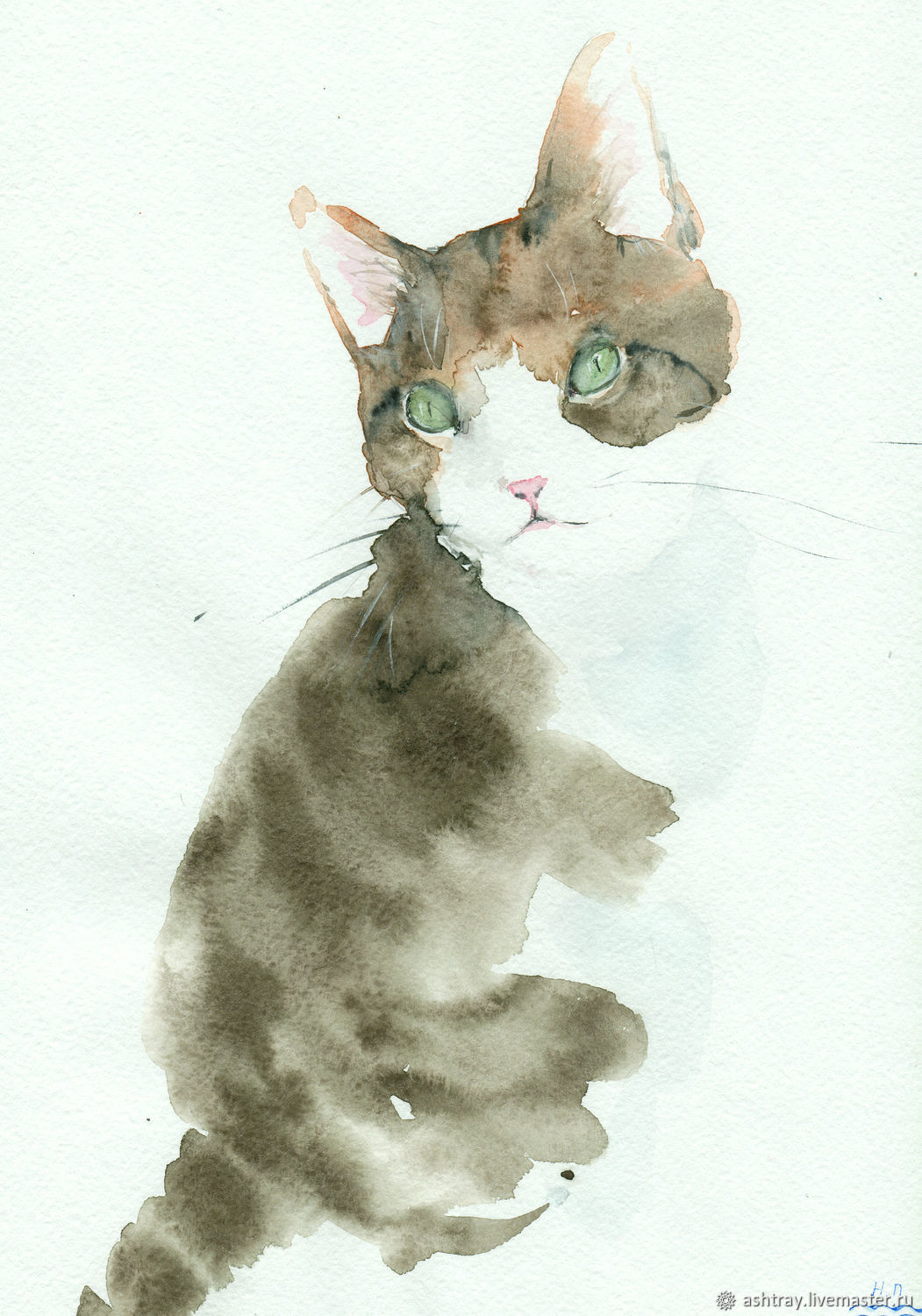 Painting watercolor 'Cat UHL', the picture with the cat, animals, Pictures, Korsakov,  Фото №1
