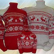 Одежда ручной работы. Ярмарка Мастеров - ручная работа Тату-свитер - С оленями и ёлочками  (для всей семьи). Handmade.
