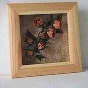 """Картины и панно ручной работы. Ярмарка Мастеров - ручная работа Панно """"Винтажные розы"""". Handmade."""