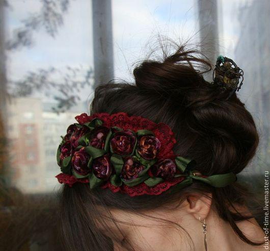 """Диадемы, обручи ручной работы. Ярмарка Мастеров - ручная работа. Купить Украшение на голову """" Розовый сад"""". Handmade. Бордовый"""
