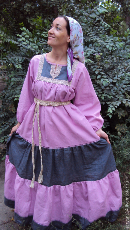 """Одежда ручной работы. Ярмарка Мастеров - ручная работа. Купить Платье  """"Ягодно-серое"""". Handmade. Разноцветный, народный костюм"""