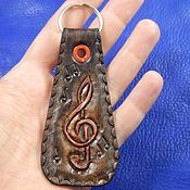 Key chain handmade. Livemaster - original item Leather key chain embossed with the Sound of music. Handmade.