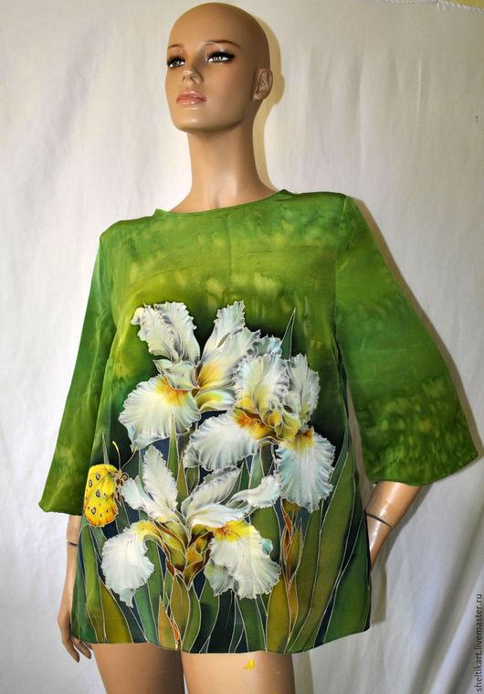 """Блузки ручной работы. Ярмарка Мастеров - ручная работа. Купить Блуза Батик """"Ирисы"""". Handmade. Зеленый, блуза шелк"""
