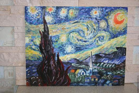 """Пейзаж ручной работы. Ярмарка Мастеров - ручная работа. Купить картина Ван Гога """"Звездная ночь. Handmade. Синий, акварель"""