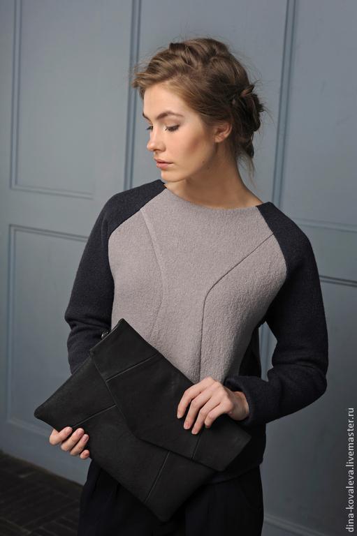 Кофты и свитера ручной работы. Ярмарка Мастеров - ручная работа. Купить Свитшот из шерсти темно-синий с серым. Handmade. теплый