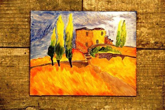 Пейзаж ручной работы. Ярмарка Мастеров - ручная работа. Купить Дом в Тоскане. Декор, керамическая плитка. Handmade. Плитка
