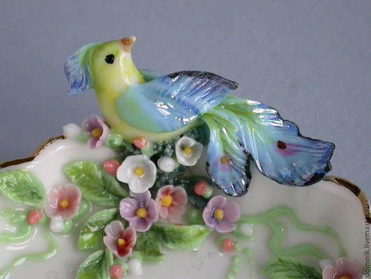 """""""Синяя птица"""" - миниатюрная вазочка из английского фарфора выполнена в единственном экземпляре. (продана)"""