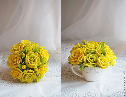 """Интерьерные композиции ручной работы. Ярмарка Мастеров - ручная работа. Купить Букетик """"Чашечка роз 4"""". Handmade. Желтый"""