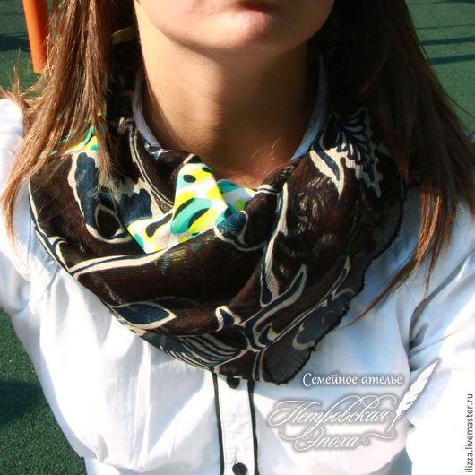Шарфы и шарфики ручной работы. Ярмарка Мастеров - ручная работа. Купить Шарфик хомут «Переменчивое настроение» 2. Handmade. Разноцветный