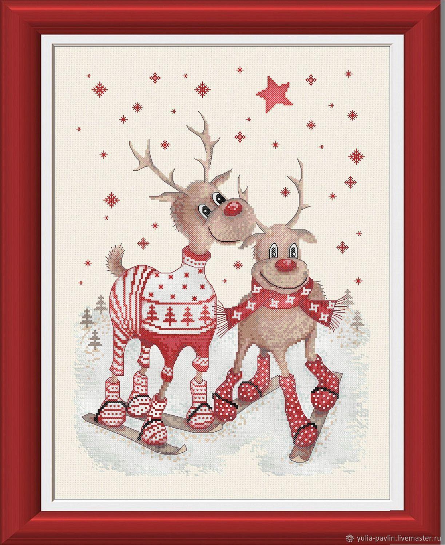 `Прогулки с оленями. На лыжах`. Авторская схема для вышивания в технике `Счетный крест`.  Схема сделана в стиле веселых новогодних картинок.
