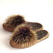 Обувь ручной работы handmade. Livemaster - original item Slippers: Flip-flops with fur, p. 39, beige, half-fur. Handmade.