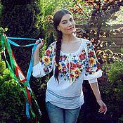 """Одежда ручной работы. Ярмарка Мастеров - ручная работа Вышитая женская блуза вышиванка """"Маки и подсолнухи"""". Handmade."""