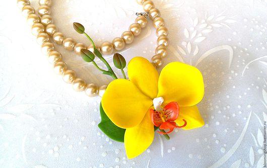 """Броши ручной работы. Ярмарка Мастеров - ручная работа. Купить Брошь""""Желтая орхидея"""". Handmade. Желтый, брошь в форме цветка"""